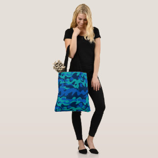 Blue Camouflage Pattern Tote Bag
