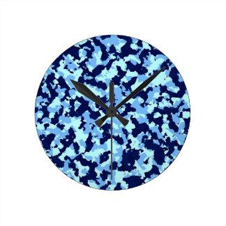 Blue Camouflage Round Clock