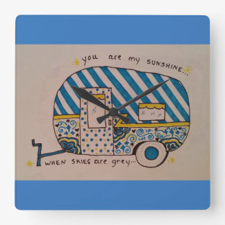 Blue camper wallclocks
