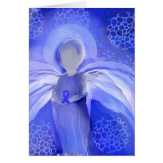 Blue Cancer Awareness Angel Greeting Card