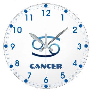 Blue Cancer Zodiac Sign On White Large Clock