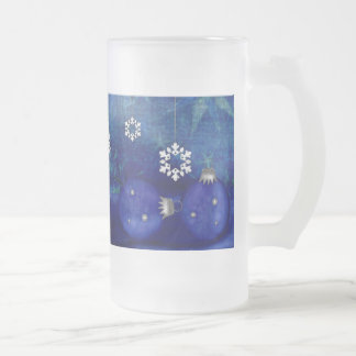 Blue Candle Christmas Frosted Glass Beer Mug