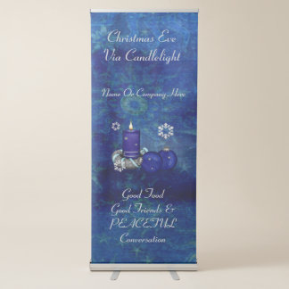 Blue Candle Christmas Retractable Banner