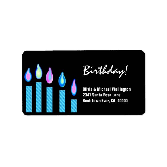 Blue Candles Birthday Label