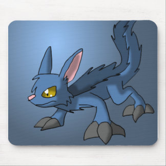 Blue Canid Dragon Hybrid Fantasy Cartoon Art Cute Mouse Pad