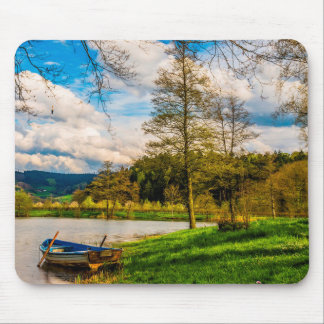 Blue Canoe Resting by Lake side Mouse Pad