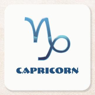 Blue Capricorn Zodiac Sign Square Paper Coaster