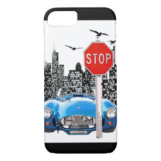 Blue car and cityscape Iphone case. iPhone 7 Case