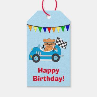 Blue Car Bear Race Birthday Gift Tags