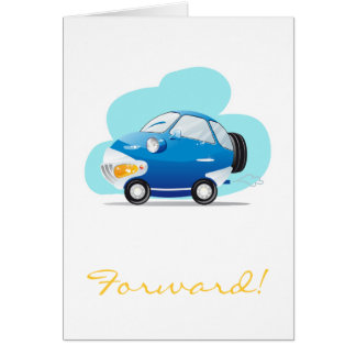 Blue car greeting card