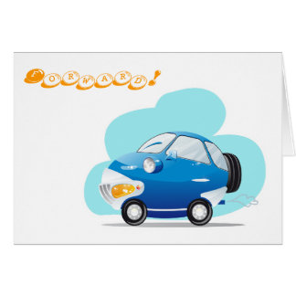 Blue car greeting card