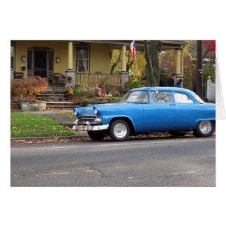 Blue Car in Small Town Birthday Card, Customizable Card