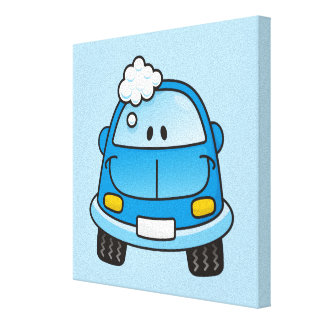 Blue car with bubbles canvas print