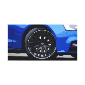 Blue Car with Stunning Rims Simple Design Canvas