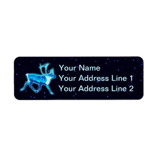 Blue Caribou (Reindeer) Return Address Label