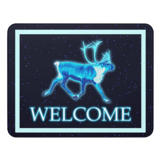 Blue Caribou (Reindeer) - Welcome Door Sign