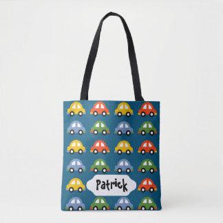 Blue cars custom design bag tote bag