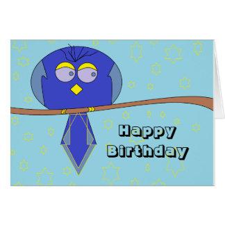 blue cartoon bird birthday card