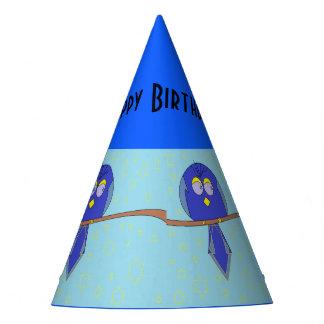 blue cartoon bird party hat
