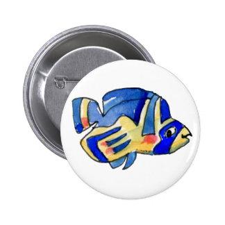 Blue Cartoon Butterfly Fish Button
