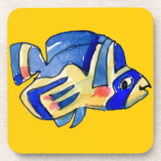 Blue Cartoon Butterfly Fish Beverage Coasters