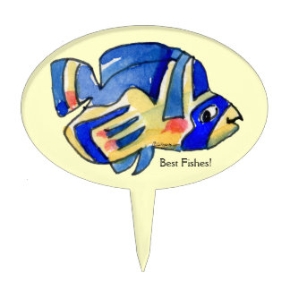 Blue Cartoon Butterfly Fish Cake Toppers