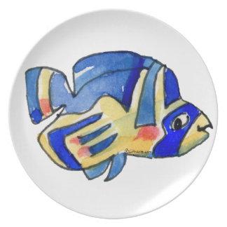 Blue Cartoon Butterfly Fish Dinner Plates