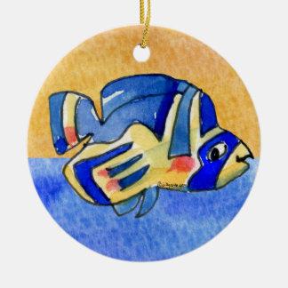 Blue Cartoon Butterfly Fish Round Ceramic Decoration