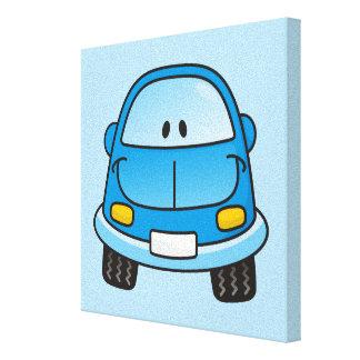 Blue cartoon car stretched canvas print