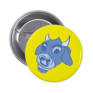 blue cartoon cow face 6 cm round badge