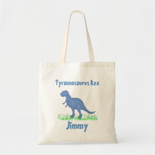 Blue Cartoon Dinosaur Tote Bag