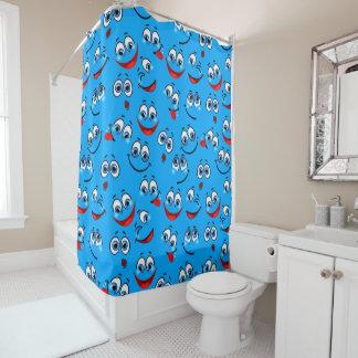 Blue Cartoon Face Pattern Shower Curtain