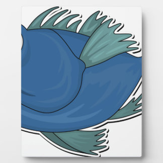 Blue Cartoon Fish Plaque