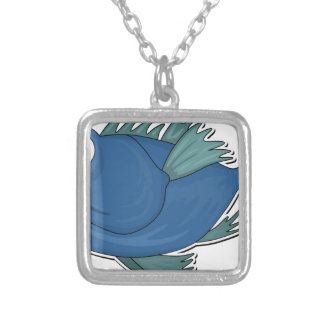 Blue Cartoon Fish Silver Plated Necklace