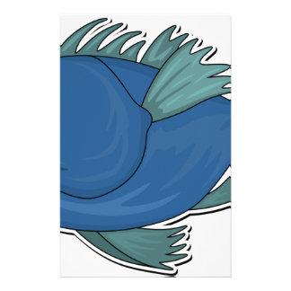 Blue Cartoon Fish Stationery