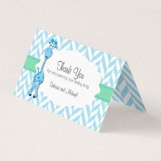 Blue Cartoon Giraffe Baby Shower | Candy Toppers Business Card