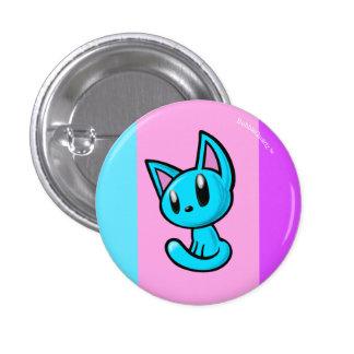 Blue cartoon kitten button