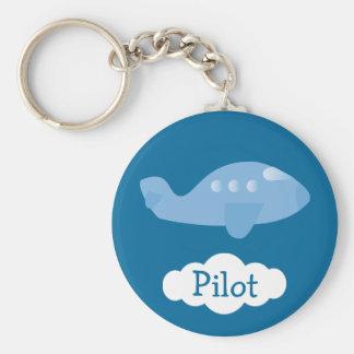 Blue Cartoon Plane Customizable Pilot Basic Round Button Key Ring