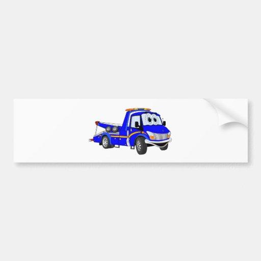 Blue Cartoon Tow Truck Bumper Stickers