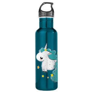 Blue cartoon unicorn with stars 710 ml water bottle
