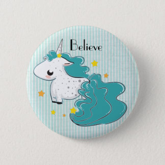 Blue cartoon unicorn with stars button