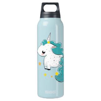 Blue cartoon unicorn with stars insulated water bottle