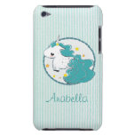 Blue cartoon unicorn with stars iPod Touch Case