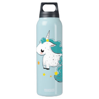 Blue cartoon unicorn with stars 16 oz insulated SIGG thermos water bottle