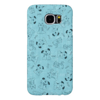 Blue Case with sweet little Dogs and Cats Samsung Galaxy S6 Cases