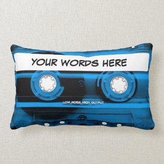 Blue Cassette Tape Personalised Lumbar Cushion