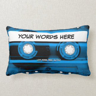 Blue Cassette Tape Personalised Lumbar Pillow