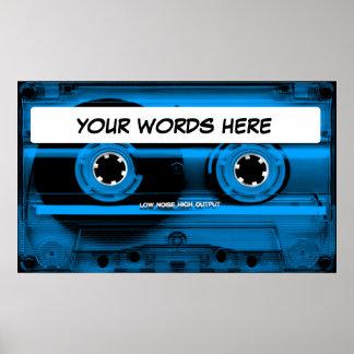 Blue Cassette Tape Poster