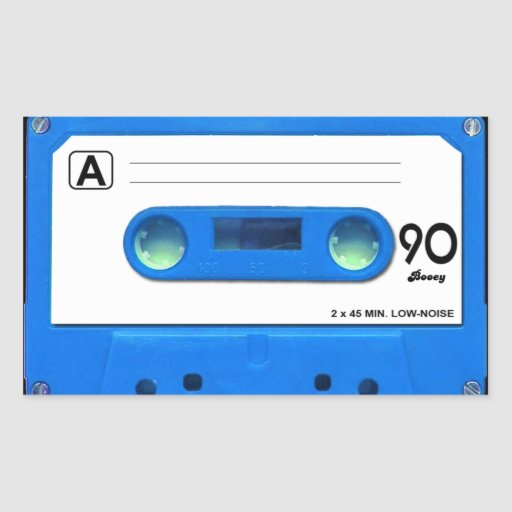 Blue Cassette Tape Rectangular Sticker