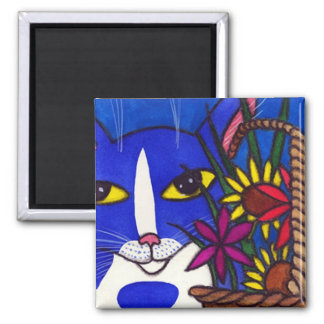 Blue Cat and Basket of Flowers Magnet